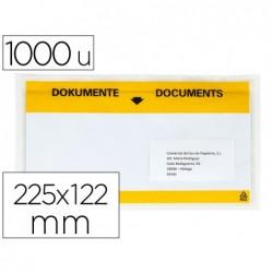 Envelope autoadesivo q-connect porta documentos multilingue 225x122 mm janela totalmente transparente pack de 1000 unida
