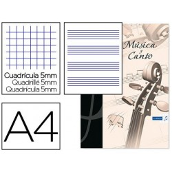 Bloc musica y canto oxford din a4 24 hojas 90 gr pentagrama interlineado 2 mm + cuadricula 5 mm