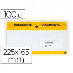 Envelope autoadesivo q-connect porta documentos multilingue 225x165 mm janela transparente pack de 100 unidades
