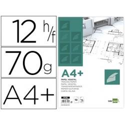 Bloco de papel vegetal liderpapel din a4+ 320x240mm 70 gr bolsa de 12 folhas