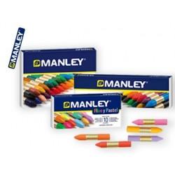 Lote lapis de cera manley 10 caixas manley 15 cores + 10 caixas manley 24 cores + 10 caixas manley fluor/pastel 10 cores