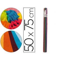 Rolo de papel seda liderpapel 12 cores sortidos 17gr de 24 folhas 50x75cm