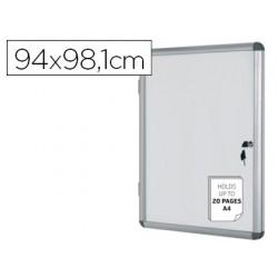 Vitrina de anuncios bi-office fundo magnetico extraplana de interior 940x981 mm