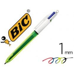 Esferografica bic quatro cores azul / preto / vermelho / amarelo fluor ponta media 1 mm