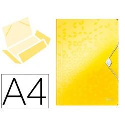 Pasta leitz wow com elasticos abas polipropileno din a4 amarela