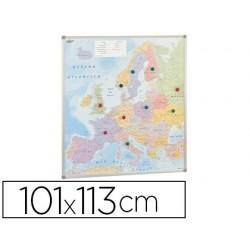 Mapa parede faibo europa politico magnetico moldura de aluminio com cantos de protecao 101x113 cm