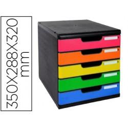 Blocos classificadores de secretaria exacompta iderama arlequin 5 gavetas multicolores 350x288x320 mm