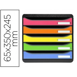 Bloco classificador de secretaria exacompta big-box plus classic iderama arlequin 5 gavetas multicolor 347x278x271 mm