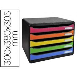 Bloco classificador de secretaria exacompta big-box plus apaisada iderama arlequin 5 gavetas multicolor 270x355x271 mm