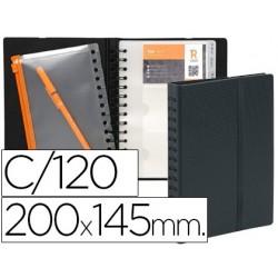 Porta cartoes exacompta exacard exactive para cartoes de visitas polipropileno cor preta para 120 cartoes formato 20x14