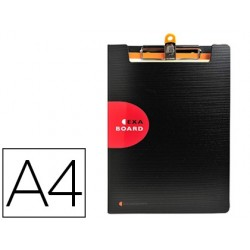 Porta notas exacompta exactive com capa polipropileno preta com mola e porta esferografica din a4