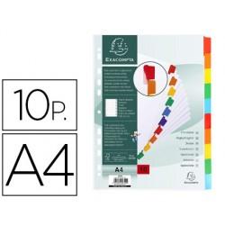 Separador exacompta cartolina branca conjunto de 10 separadores pestana em cores din a4 11 furos