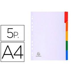 Separador exacompta cartolina branca conjunto de 5 separadores pestana em cores din a4 11 furos