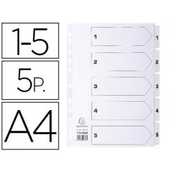 Separador exacompta numerico cartolina branca 1-5 conjunto de 5 separadores de cores din a4 11 furos