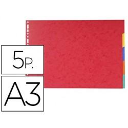 Separador exacompta cartolina brilho conjunto de 5 separadores din a3 ao baixo multifurado
