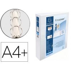 Pasta exacompta canguro 4 aneis 50 mm din a4+ cartao forrado polipropileno personalizavel 3 bolsos branca