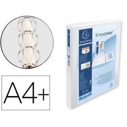 Pasta exacompta canguro 4 aneis 30 mm din a4+ cartao forrado polipropileno personalizavel 3 bolsos branca