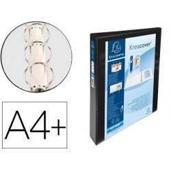 Pasta exacompta canguro 4 aneis 16 mm din a4+ cartao forrado polipropileno personalizavel 3 bolsos branca