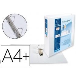 Pasta exacompta canguro 2 aneis 60 mm din a4+ cartao forrado polipropileno personalizavel 3 bolsos branca