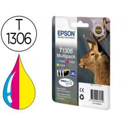 Cartucho de tinta epson stylus sx525wd/620fw office b42wd/bx320fw/525wd t1306 pack tricolor