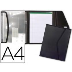 Pasta porfolio liderpapel porta documentos polipropileno com 5 bolsas e bloco de notas fecho de velcro din din a4preto