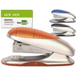 Agrafador liderpapel plastico cores sortidas agrafes 24/6 22/6 capacidade 20 f oferta de uma caixa de agrafes