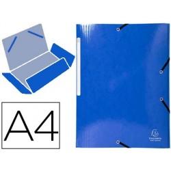 Pasta exacompta iderama com elasticos em cartao laminado 425 gr tres abas din a4 azul escuro