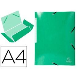 Pasta exacompta iderama com elasticos em cartao laminado 425 gr tres abas din a4 verde escuro