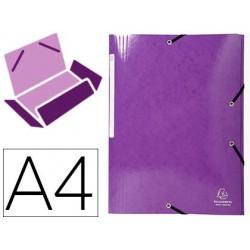Pasta exacompta iderama com elasticos em cartao laminado 425 gr tres abas din a4 violeta