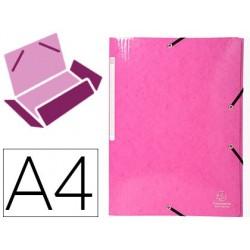 Pasta exacompta iderama com elasticos em cartao laminado 425 gr tres abas din a4 rosa