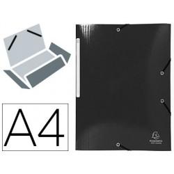 Pasta exacompta iderama com elasticos em cartao laminado 425 gr tres abas din a4 preta