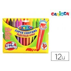 Lapices de cera carioca jumbo triangular caja de 12 colores surtidos