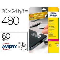 Etiqueta adesiva avery permanente poliester branca 40 mm diametro antimanipulacao laser caixa de 480 unidades