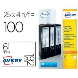 Etiqueta adesiva avery permanente branca 61x192 mm para lombada caixa de 100 unidades