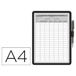 Moldura porta anuncios tarifold magneto din a4 dorso adesivo removivel com porta esferografica cor preta
