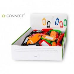 Chaveiro porta-etiquetas q-connect caixa de 100 unidades cores sortidas