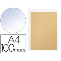 Bolsa catalogo pardo quatro furos pvc 100 microns com reforco lombada din a4 transparente