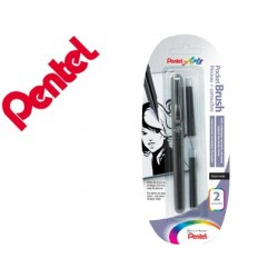 Blister caneta pincel pentel xgfkp/fp10 preto tinta da china com recarga