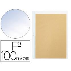 Bolsa catalogo pardo quatro furos pvc 100 microns com reforco lombada folio transparente