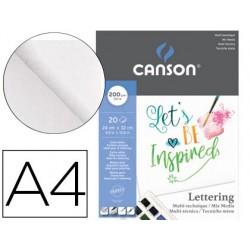 Bloco de desenho multitecnicas canson lettering mix media 24x32 cm 20 folhas 200 gr