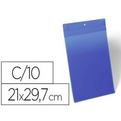 Bolsa durable magnetica 210x297 mm plastico azul janela transparente pack de 10 unidades
