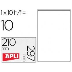 Etiquetas adesivas apli de poliester para impressora tinteiro 210x297 mm carteiras de 10 folhas
