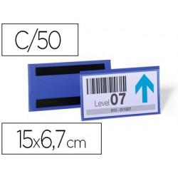Bolsa durable magnetica 150x67 mm plastico azul janela transparente pack de 50 unidades