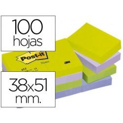 Bloco de notas adesivas post-it 38x51 mm ultra intenso surtido pack de 12 blocs