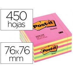 Bloco de notas adesivas post-it 76x76 mm cubo cor rosa neon 450 folhas