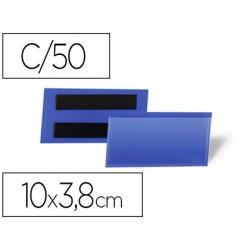 Bolsa durable magnetica 100x38 mm plastico azul janela transparente pack de 50 unidades