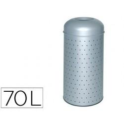 Cesto de papeis metalico perfurado com cubo interior 390x850 mm