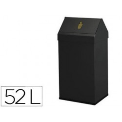 Cesto de papeis sie metalico com tampa giratoria capacidade 52 litros 65 x 25 x 32 cm