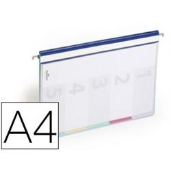Capas de suspensao durable plastico din a4 com 5 bandas de cores e indice lombada cor azul pack de 5 unidades