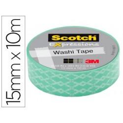 Fita adesiva scotch washi tapes papel de arroz fantasia azul losango 10 mt x 15 mm